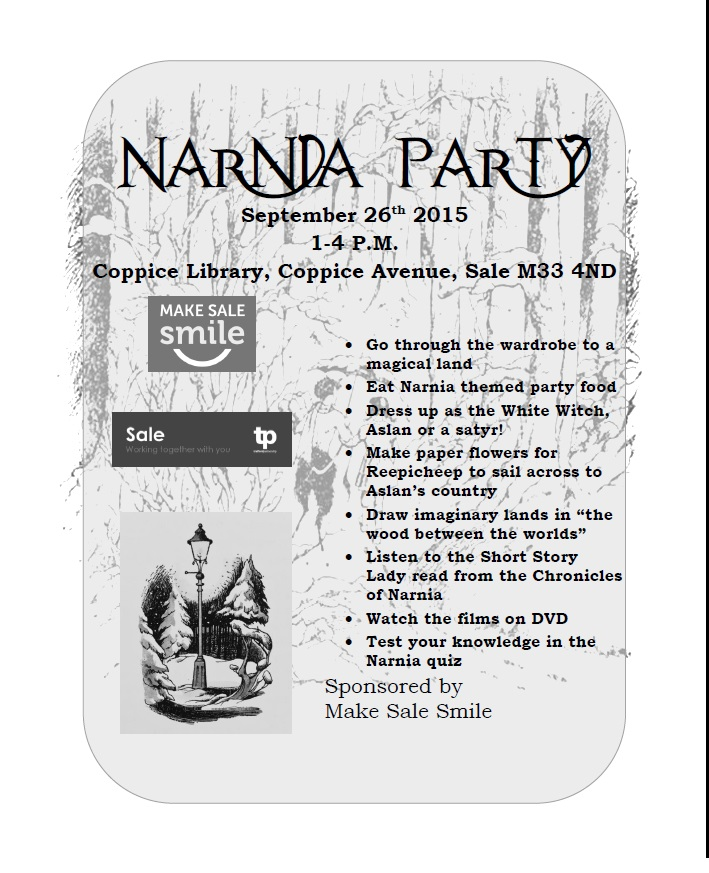 Narnia party flyer Black and White